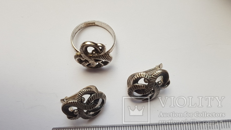 Советский набор. Серебро 925 проба. Размер кольца 18. Вес 10.66 г., фото №3