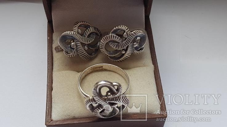 Советский набор. Серебро 925 проба. Размер кольца 18. Вес 10.66 г., фото №6