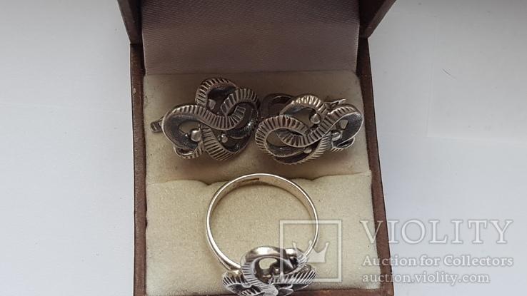 Советский набор. Серебро 925 проба. Размер кольца 18. Вес 10.66 г., фото №7