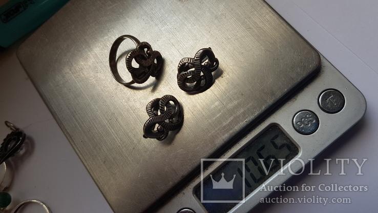 Советский набор. Серебро 925 проба. Размер кольца 18. Вес 10.66 г., фото №8