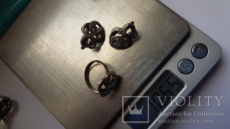Советский набор. Серебро 925 проба. Размер кольца 18. Вес 10.66 г., фото №9