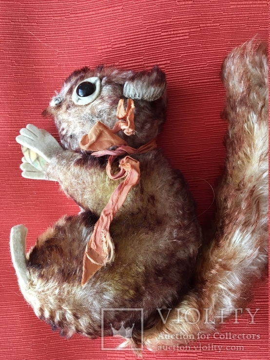"""Антикварная игрушка мягкая.""""белка с орехом """"Германия.1950 год., фото №7"""