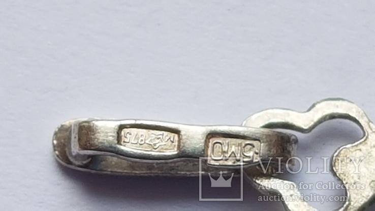 Советский подвес серебро 875 проба. Чернь. Вес 2.67 г., фото №6