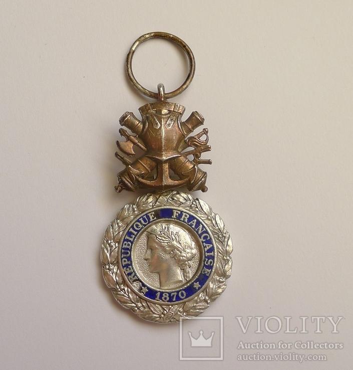 Французская военная медаль 1970 г. в серебре.