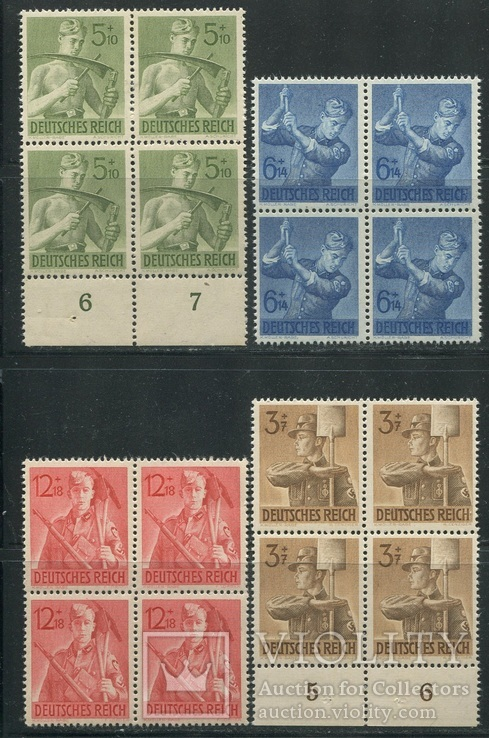1943  Рейх  полная серия MNH квартблоки стройбат