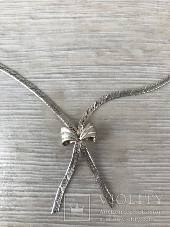 Серебряная цепочка с бантиком, фото №3