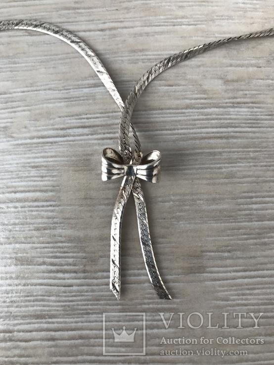 Серебряная цепочка с бантиком, фото №4