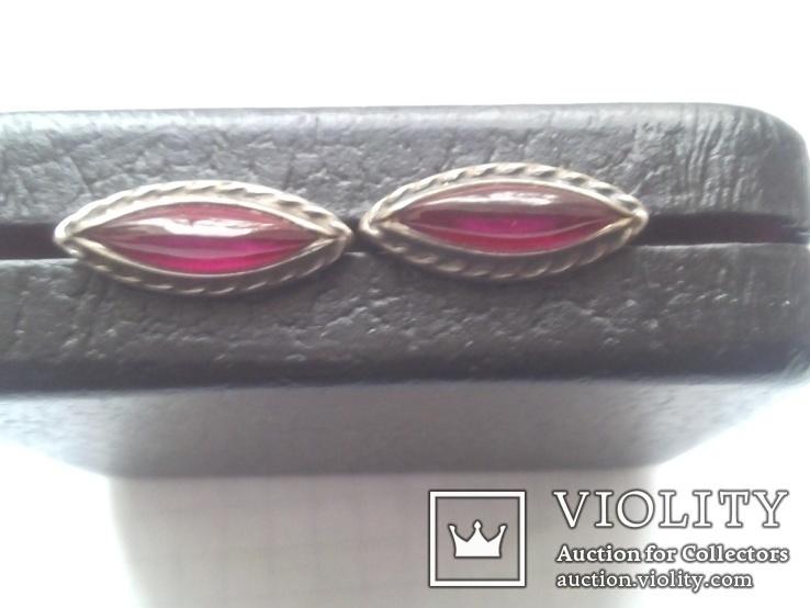 Серьги из серебра с тёмно-розовым камнем времен СССР, фото №3