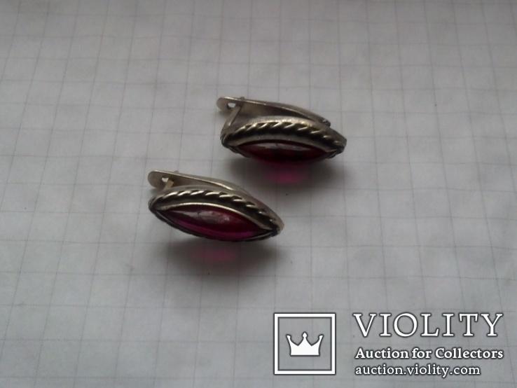 Серьги из серебра с тёмно-розовым камнем времен СССР, фото №5