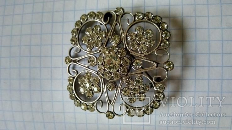 Брошь серебро 875пр. звезда +камни, фото №3