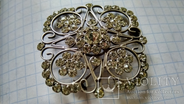 Брошь серебро 875пр. звезда +камни, фото №4