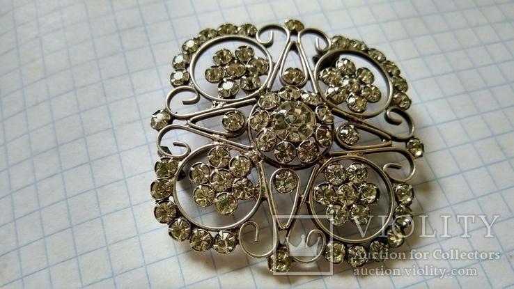 Брошь серебро 875пр. звезда +камни, фото №6