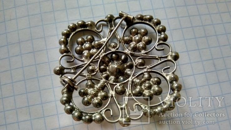 Брошь серебро 875пр. звезда +камни, фото №8
