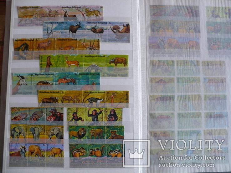 Около 200 марок и 56 сцепок,м.л., темы Фауна,флора в альбоме, фото №4