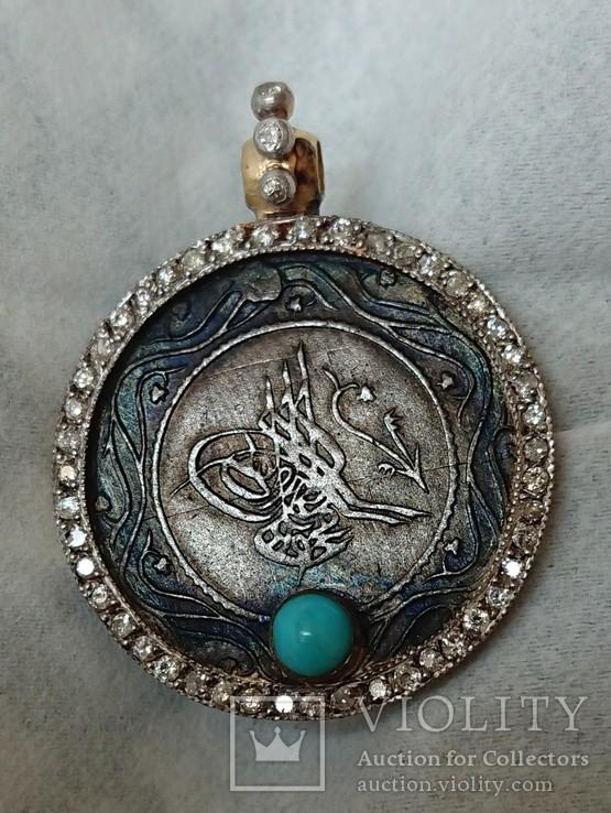 Подвеска (золото 750, серебро 875), бирюза, осколки бриллиантов., фото №3