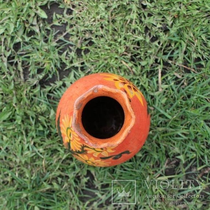 Глиняная ваза №1, ручная роспись, фото №7