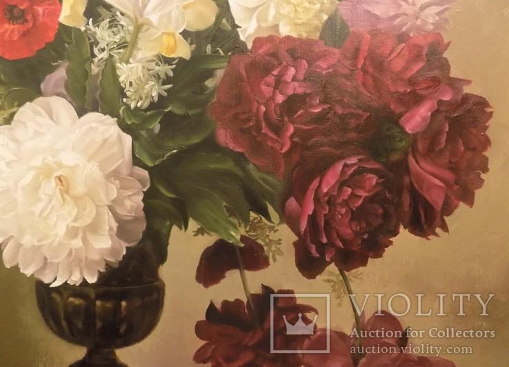 "Натюрморт ""Букет в бронзовой вазе"" 70х75 см, х/м, Костенко А.С., фото №4"