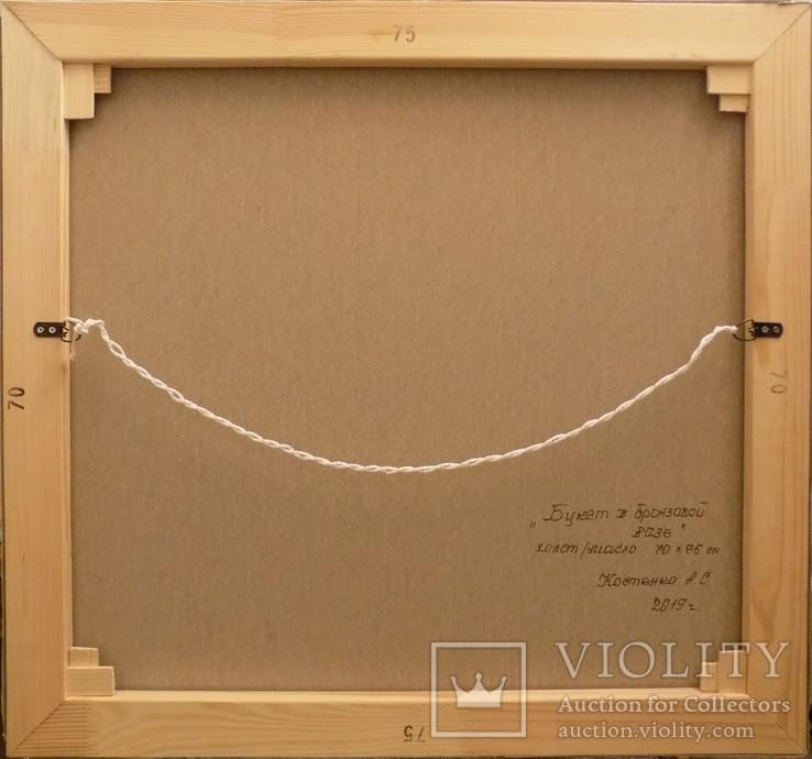 "Натюрморт ""Букет в бронзовой вазе"" 70х75 см, х/м, Костенко А.С., фото №8"