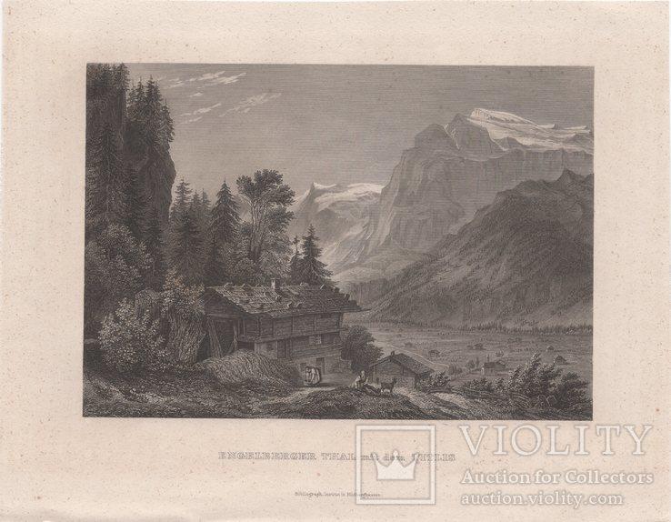 Старинная гравюра. 1862г. Энгельберг. Швейцария., фото №3