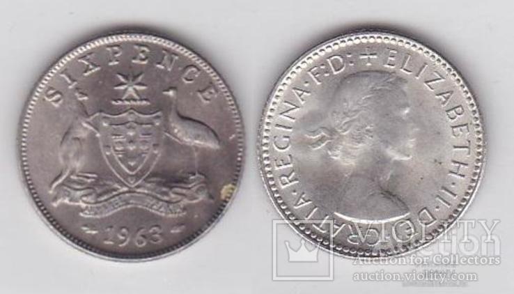 Australia Австралия - 6 six Pence серебро 1963 JavirNV