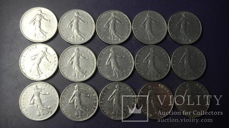 1/2 франка Франція (порічниця) 15шт, всі різні, фото №3