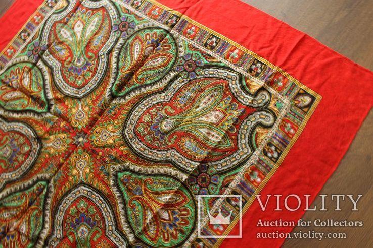 Шерстяной старинный платок№219, фото №6