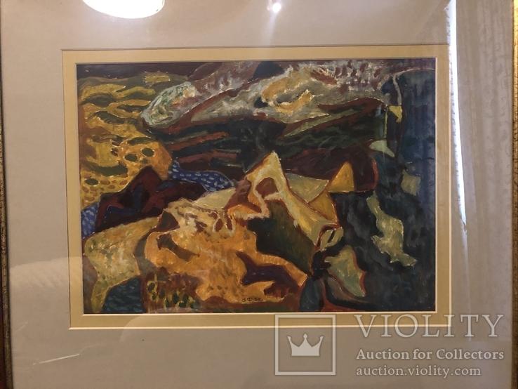 """Зеновій Флінта, картина """"Гірський пейзаж"""", 1966р, фото №3"""