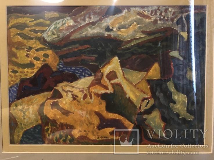 """Зеновій Флінта, картина """"Гірський пейзаж"""", 1966р, фото №5"""