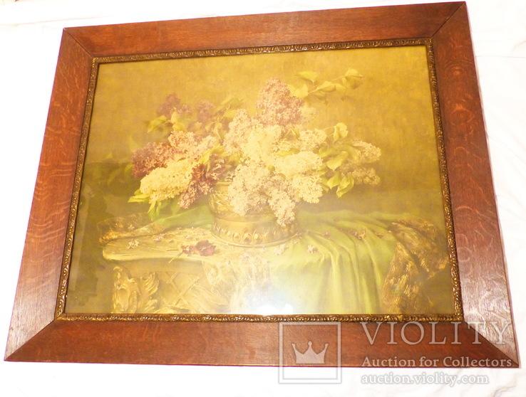 Старинная картина репродукция - шикарная рамка деревянная - -- германия --- 92 х 74,5 см