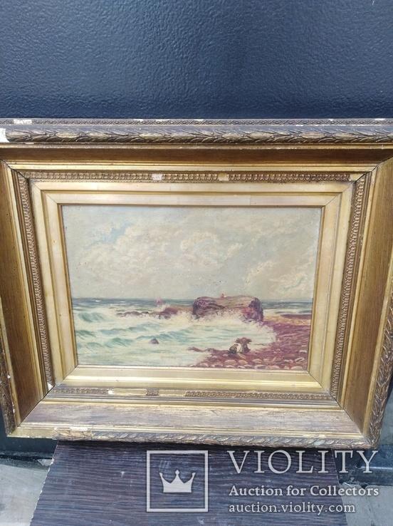Картина Морской пейзаж.старая Англия.холст.масло.позолота