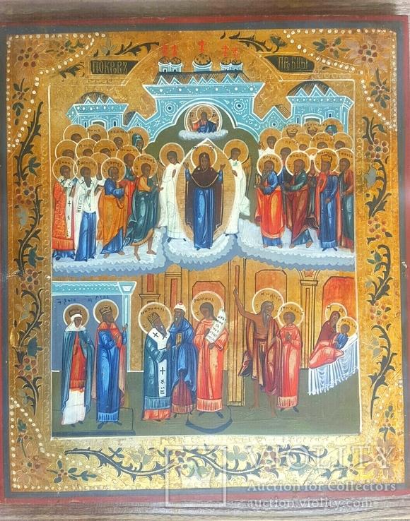 Икона Покров Божией Матери, Пресвятой Богородицы, 19 век.