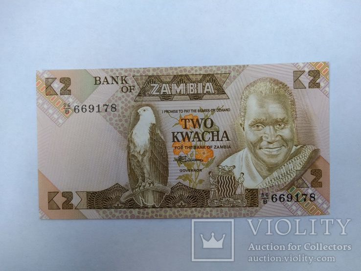Замбия 2 квача UNC, фото №2