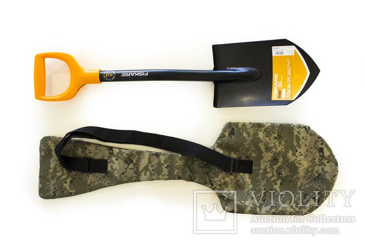 Лопата саперная Fiskars Solid 131417 + Чехол для лопаты пиксель (85 см на всю длину), фото №13