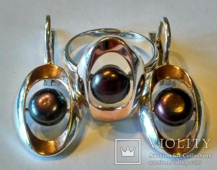 Гарнитур серьги и кольцо серебро 925 + золото 375