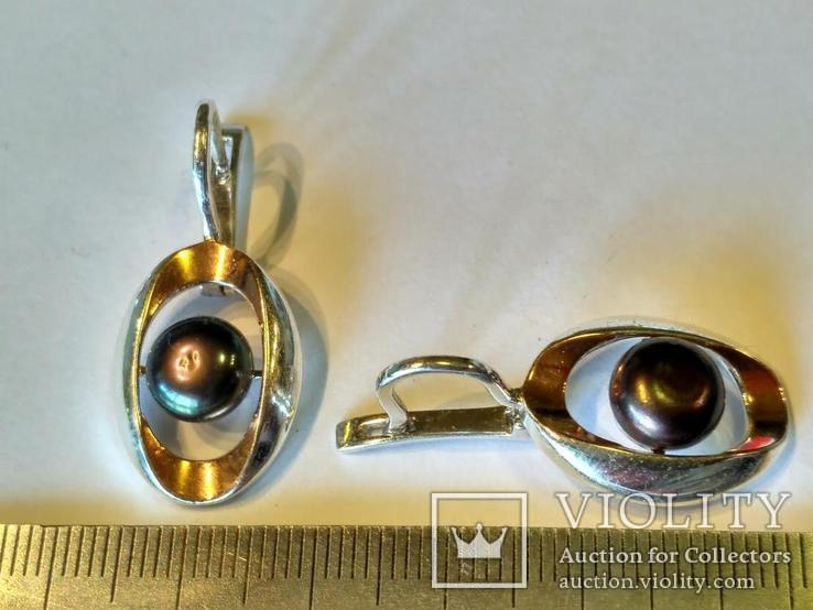Гарнитур серьги и кольцо серебро 925 + золото 375, фото №4