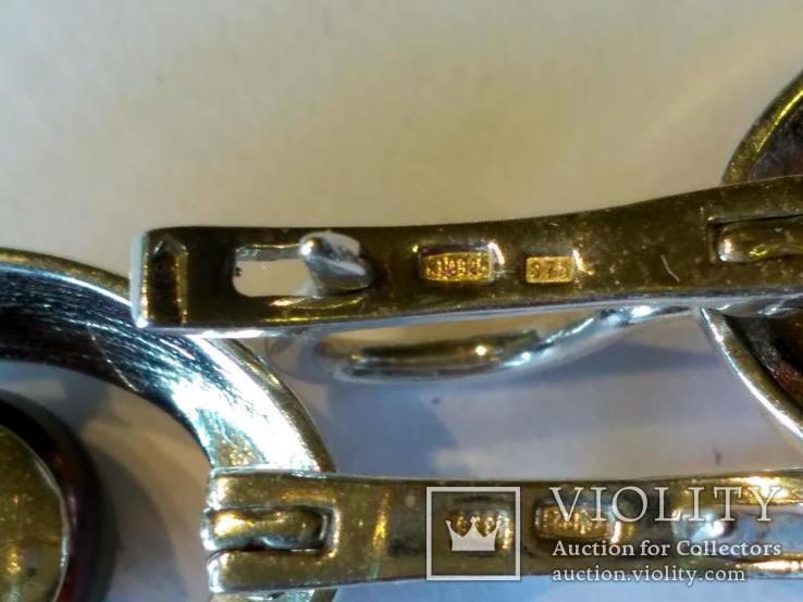 Гарнитур серьги и кольцо серебро 925 + золото 375, фото №6