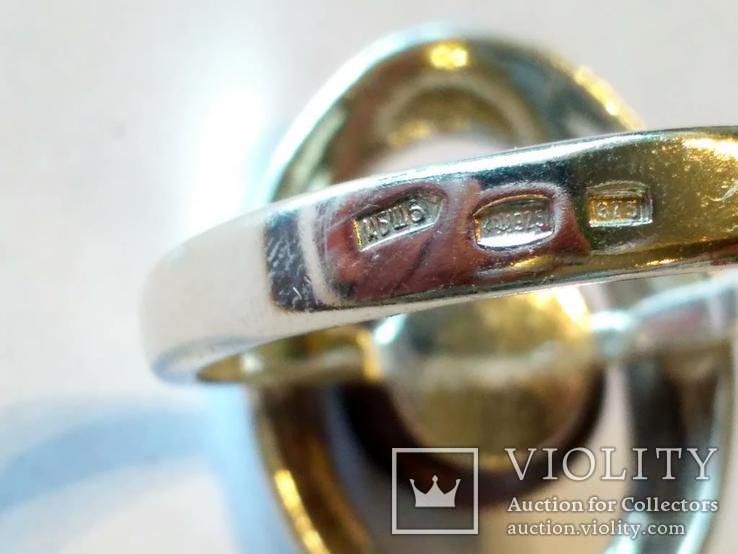 Гарнитур серьги и кольцо серебро 925 + золото 375, фото №7