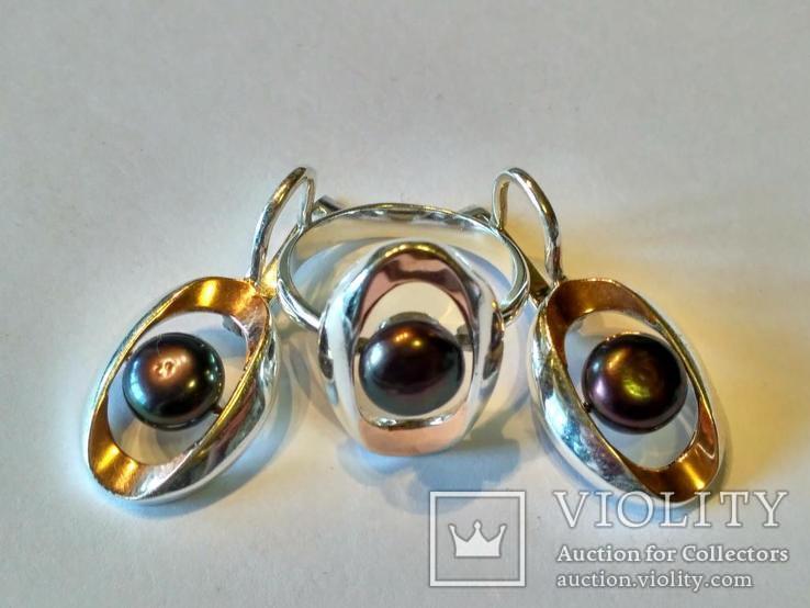 Гарнитур серьги и кольцо серебро 925 + золото 375, фото №8