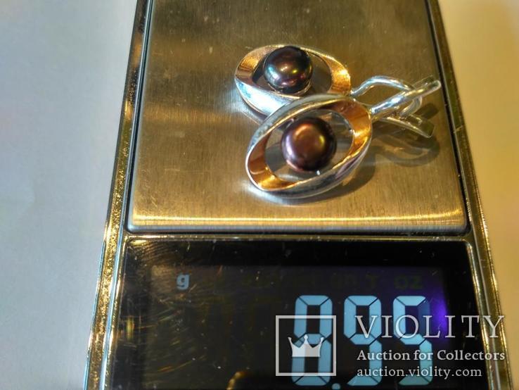 Гарнитур серьги и кольцо серебро 925 + золото 375, фото №10