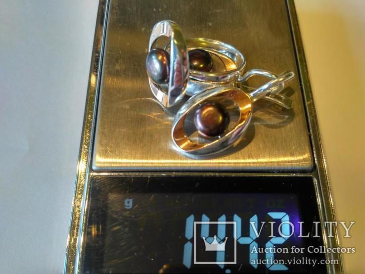 Гарнитур серьги и кольцо серебро 925 + золото 375, фото №11