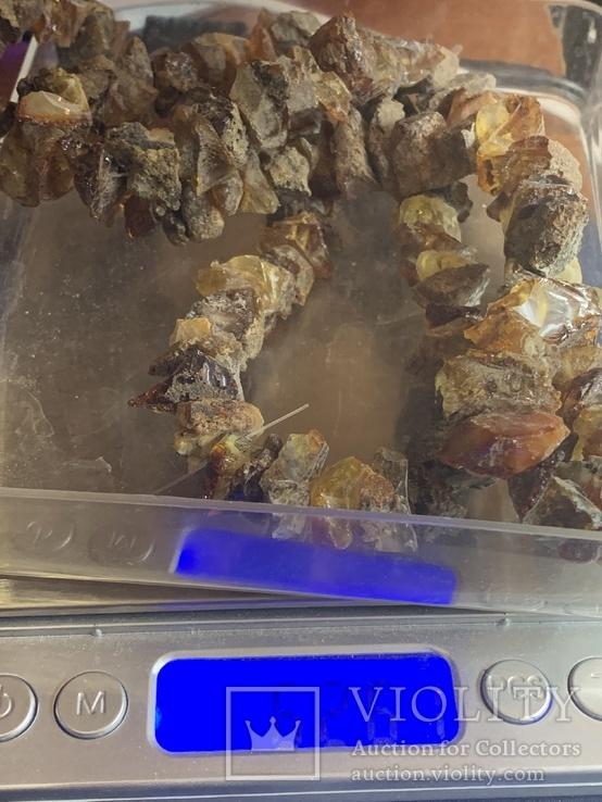 Лечебные бусы из не шлифованого янтаря 62.5 грамм, фото №4