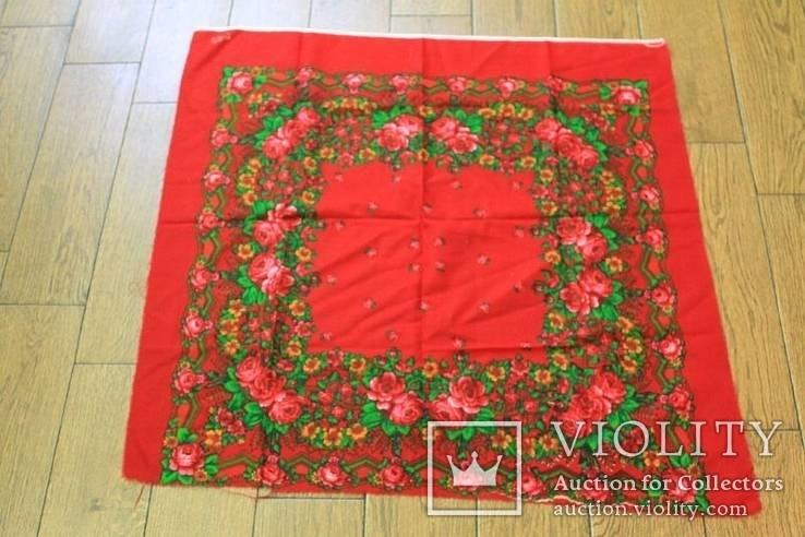 Шерстяной старинный платок №5, фото №10