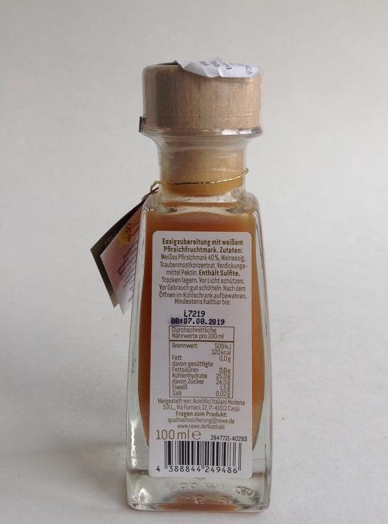 Уксус фруктовый натуральный. Персиковый. 100 мл.  Германия. ТМ  REWE., фото №4