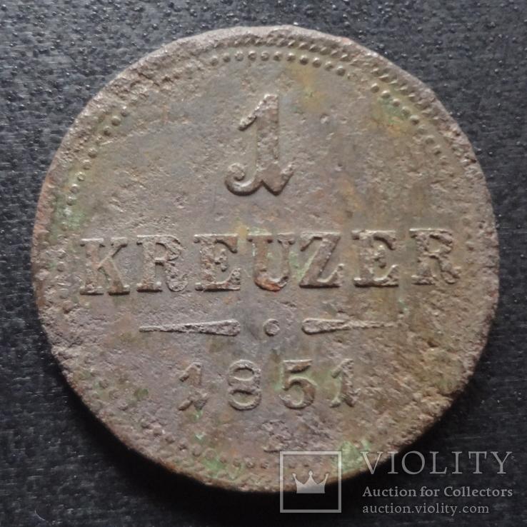 1 крейцер 1851 Австро-Венгрия    (П.3.11)~, фото №2