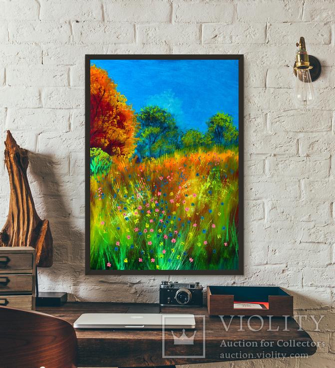 Пейзаж с цветами (масло/холст) 50х70 см