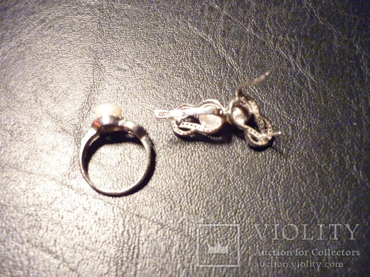 Набор - кольцо и серьги серебро 925 проба Украина, фото №6