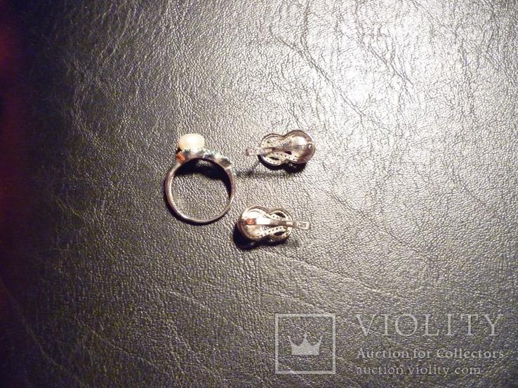 Набор - кольцо и серьги серебро 925 проба Украина, фото №7
