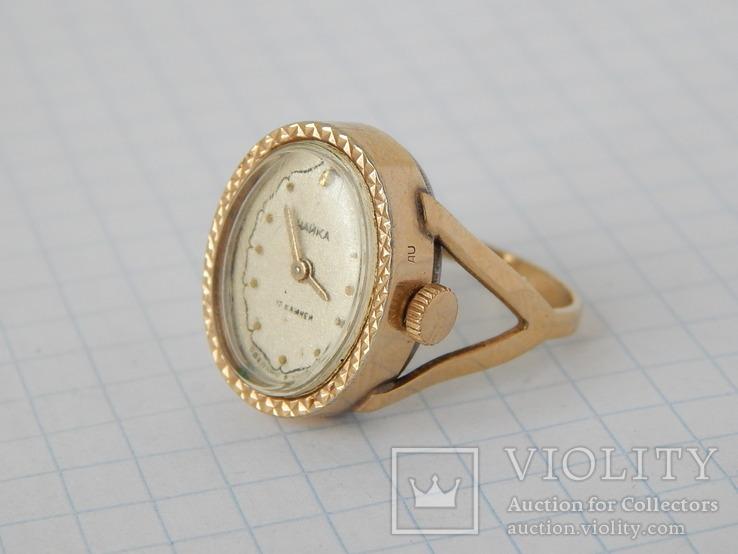 """Часы-перстень """"Чайка 1301"""" позолота AU (на ходу)."""