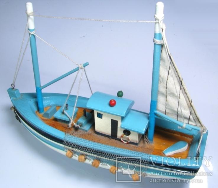 Модель рыболовецкого судна Моторный Баркас Шхуна Дерево Ручная сборка., фото №5