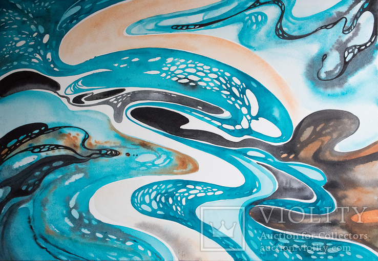 Акварельна абстракція в Бірюзово-Чорних кольорах покрита лаком. (70х50 см)., фото №3